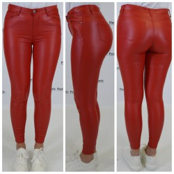 Lederlook jeans s365 rood